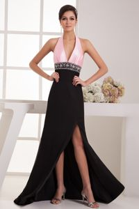Black and Pink Halter Beaded High Slit Informal Prom Dress with Back Out