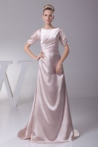 Simple Bateau Light Pink Short Sleeves Brush Train Dress for Formal Prom