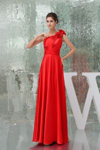 Luxurious Red One Shoulder Floor-length Formal Prom Dress with Flowers