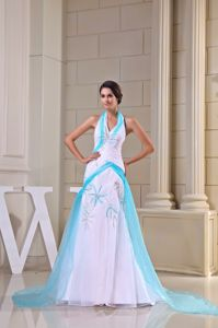 Lace-up Halter White Brush Train Prom Dresses with Ribbon and Appliques