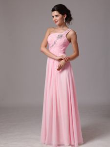 Lovely Baby Pink Single Shoulder Ruched Full-length Formal Prom Dresses