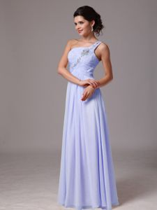 Elegant Lilac One Shoulder Ruched Full-length Prom Dresses with Beading