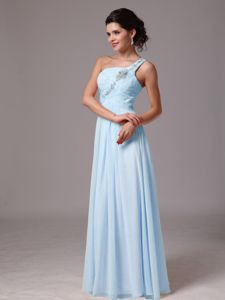 Pretty Light Blue Beaded Single Shoulder Ruched Long Formal Prom Dress