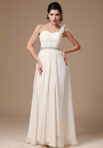 Lovely Flowers One Shoulder White Long Prom Dress with Beaded Waist