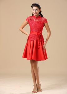 High-neck Red Cap Sleeves Short Informal Prom Dress with Flower and Lace
