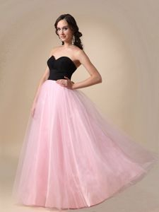 Hot Sale Black and Pink Sweetheart Floor-length Semi-formal Prom Dresses