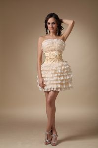 Strapless Champagne Beaded Mini-length Informal Prom Dress with Layers