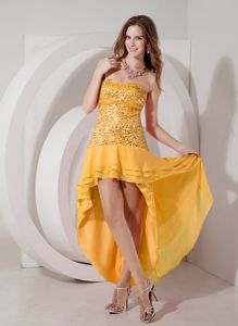 New Arrival Orange Sequin High-low Dresses for Formal Prom in Scott City