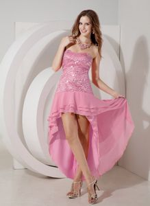 Rose Pink Sequin Strapless High-low Dresses for Formal Prom with Layers