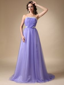 Strapless Lilac Ruched Brush Train Dress for Formal Prom with Beaded Belt