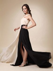 Beautiful Champagne and Black V-neck Ruched Dress for Prom with High Slit