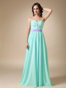 Pretty Ruched Sweetheart Ice Blue Long Prom Dresses with Belt in Lake City