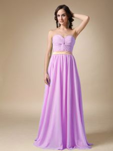 Lavender Sweetheart Floor-length Formal Prom Dresses with Belt and Ruche