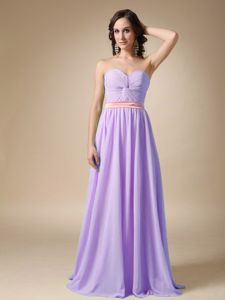 Elegant Lilac Ruched Sweetheart Floor-length Formal Prom Dresses with Belt
