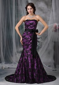 Strapless Purple Court Train Formal Prom Dress with Black Lace and Sash