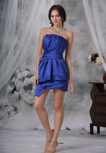 Unique Strapless Royal Blue Asymmetrical Informal Prom Dress with Ruche