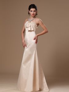 Elegant Champagne Strapless Ruched Brush Train Dresses for Formal Prom