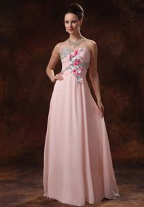 Lovely Baby Pink Sweetheart Floor-length Formal Prom Dress with Flowers