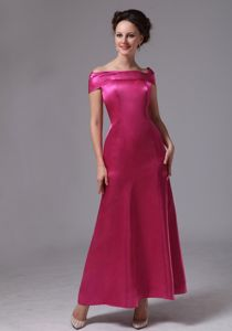Simple Hot Pink Off The Shoulder Ankle-length Semi-formal Prom Dresses