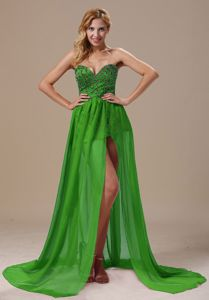 Wholesale Spring Green Beaded Sweetheart High Slit Formal Prom Dresses