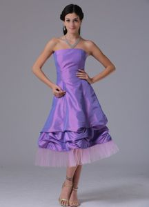 Pretty Lavender Strapless Tea-length Dresses for Formal Prom with Pick-ups