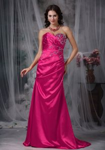 Lace-up Hot Pink Sweetheart Brush Train Formal Prom Dresses with Beading