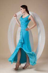Unique Teal Ruched Ankle-length Dress for Formal Prom with Slit and Straps