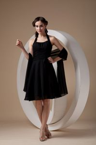 Sexy Black Halter Knee-length Formal Prom Dresses with Ruche in Indiana