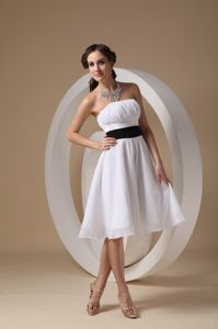 White Ruched Strapless Tea-length Junior Prom Dress with Black Sash Bow