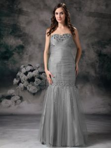 Grey Sweetheart Mermaid Floor-length Formal Prom Dresses with Beading