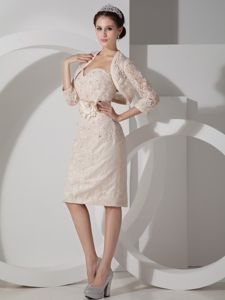 Elegant Champagne Sweetheart Short Prom Dress with Flower and Appliques