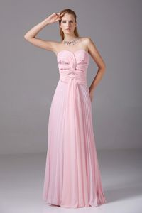 Pleated Light Pink Ruched Sweetheart Floor-length Dress for Formal Prom