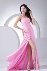 Baby Pink Ruched One Shoulder Formal Prom Dress with High Slit in Morris