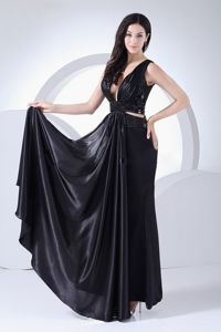New Arrival Plunging V-neck Ankle-length Formal Prom Dress with Cutout