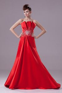 Low Back Red Brush Train Semi-formal Prom Dress with Beading in Hobart