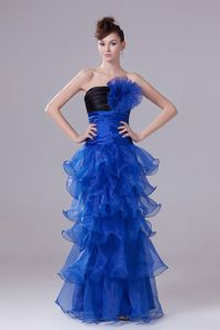 Unique Royal Blue Strapless Dress for Formal Prom with Flower and Ruffles