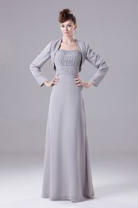 Modest Ruched Strapless Grey Floor-length Formal Prom Dresses in Indiana