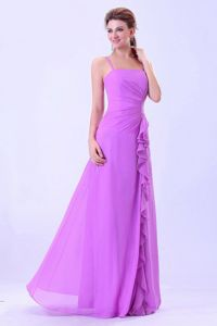 Simple Lavender Long Formal Prom Dress with Ruffles and Spaghetti Straps