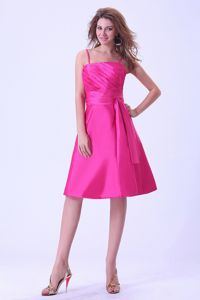 Hot Pink Knee-length Ruched Prom Dresses with Spaghetti Straps and Sash