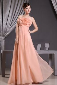 Beautiful Strapless Peach Full-length Dress for Prom with Flowers in Chester