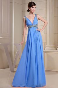 Baby Blue V-neck Beaded Floor-length Prom Outfits with Cutout in Morris
