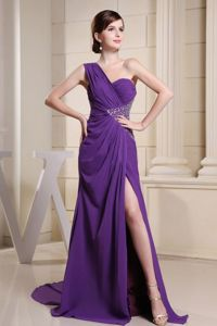 One Shoulder High Slit Purple Formal Prom Dress with Beading in Big Rock