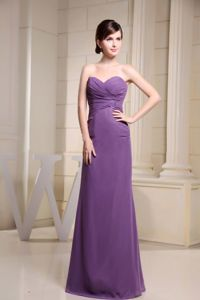 Elegant Purple Ruched Sweetheart Floor-length Semi-formal Prom Dresses