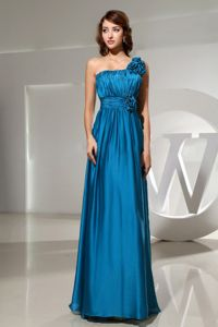 Teal Ruched Single Shoulder Long Formal Prom Dress with Flowers in Erie