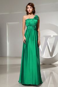 Modest Green One Shoulder Floor-length Prom Gown Dress with Flowers