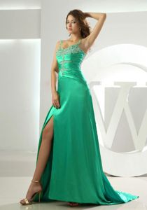 Turquoise Beaded High Slit Dress for Formal Prom with Straps in Elwood