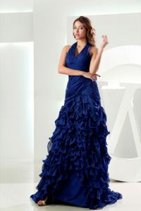 Sexy Halter Royal Blue Brush Formal Prom Dress with Ruffles in Big Rock