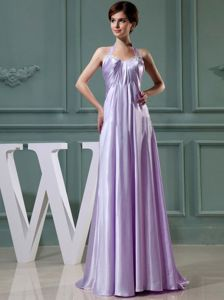 Halter Top Lavender Empire Floor Length Prom Dress with Beading