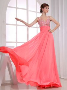 Spaghetti Straps Watermelon Beaded Chiffon Long Prom Party Dress
