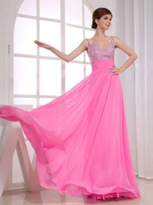 Beading Decorate Spaghetti Straps Rose Pink Evening Prom Dress